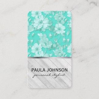 Flower Pattern Wooden Panels Business Card