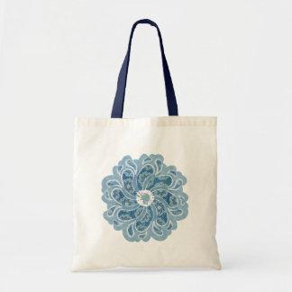 Flower patterned denim faded aqua bag