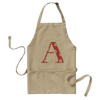 flower Patterned Letter A (red & dots) Apron