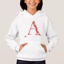 flower Patterned Letter A (red & dots) Hoodie