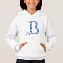 flower Patterned Letter B(blue & dots) Hoodie