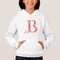flower Patterned Letter B(red & dots) Hoodie