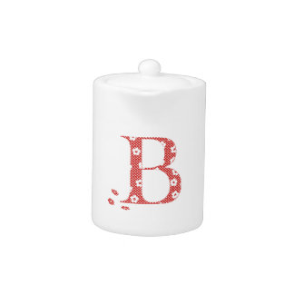flower Patterned Letter B(red & dots) Teapot