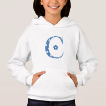 Flower Patterned Letter C(blue & dots) Hoodie