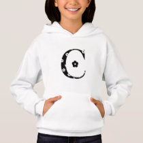 Flower Patterned Letter C Hoodie