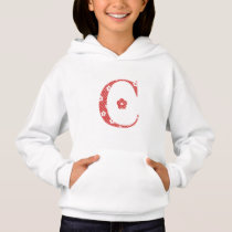 Flower Patterned Letter C(red & dots) Hoodie