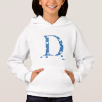 Flower Patterned Letter D (blue & dots) Hoodie