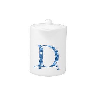 Flower Patterned Letter D (blue & dots) Teapot