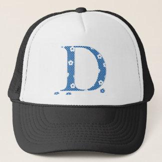 Flower Patterned Letter D (blue & dots) Trucker Hat