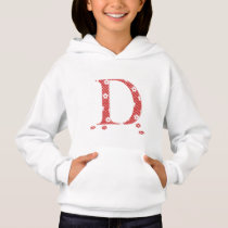 flower Patterned Letter D (red & dots) Hoodie