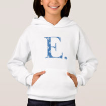 flower Patterned Letter E(blue & dots) Hoodie