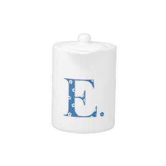 flower Patterned Letter E(blue & dots) Teapot