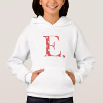 flower Patterned Letter E red & dots) Hoodie
