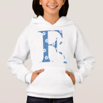 flower Patterned Letter F(blue & dots) Hoodie