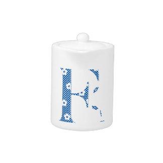 flower Patterned Letter F(blue & dots) Teapot