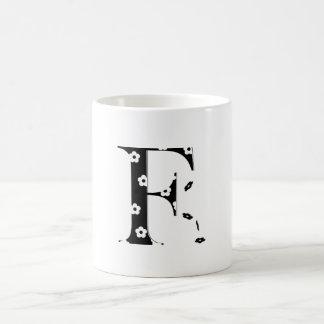 flower Patterned Letter F Coffee Mug