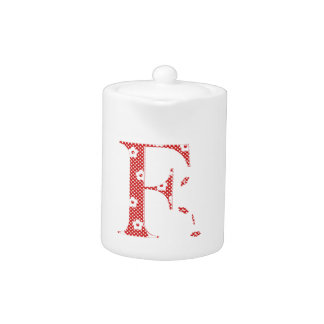 flower Patterned Letter F(red & dots) Teapot