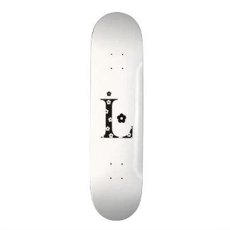 flower Patterned Letter L Custom Skate Board