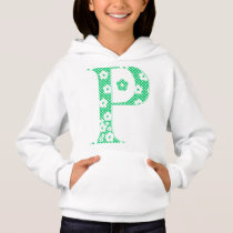 flower Patterned Letter P (green & dots) Hoodie