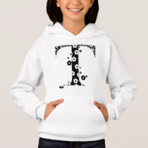 flower Patterned Letter T Hoodie
