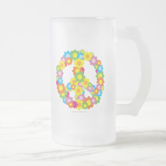 Flower Peace Sign Frosted Glass Beer Mug