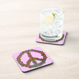 Flower Peace Sign Symbol Colorful Coasters