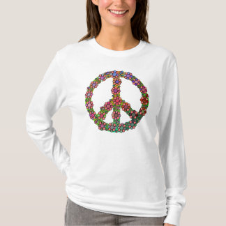 Flower Peace Sign Symbol Colorful T-Shirt