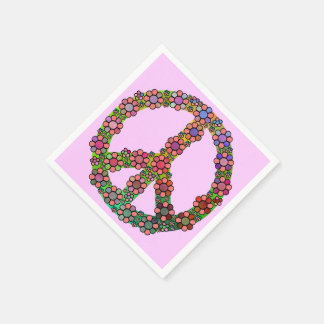 Flower Peace Sign Symbol Floral Pretty Paper Napkin