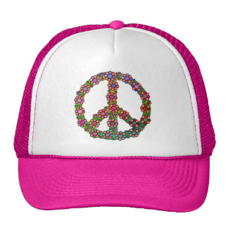 Flower Peace Sign Symbol Hats