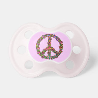 Flower Peace Sign Symbol Baby Pacifier