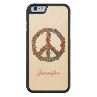 Flower Peace Sign Symbol Personalized Carved® Maple iPhone 6 Bumper Case