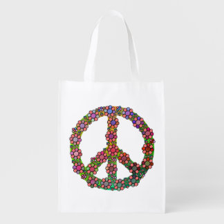 Flower Peace Sign Symbol Pretty Grocery Bags