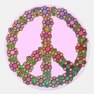 Flower Peace Sign Symbol Round Sticker