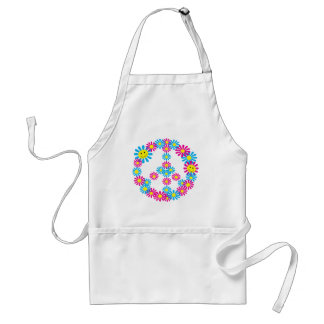 Flower Peace Sign w/Smiley Faces Adult Apron