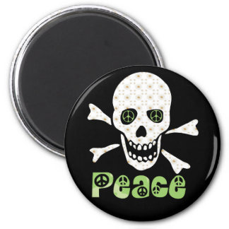 Flower Peace Skull 2 Inch Round Magnet