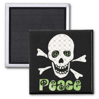 Flower Peace Skull 2 Inch Square Magnet