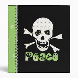 Flower Peace Skull 3 Ring Binder