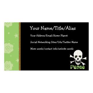 Flower Peace Skull Business Card
