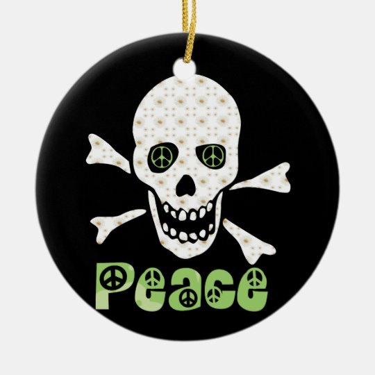 Flower Peace Skull Ceramic Ornament