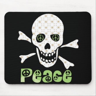 Flower Peace Skull Mouse Pad