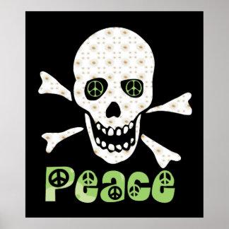 Flower Peace Skull Poster