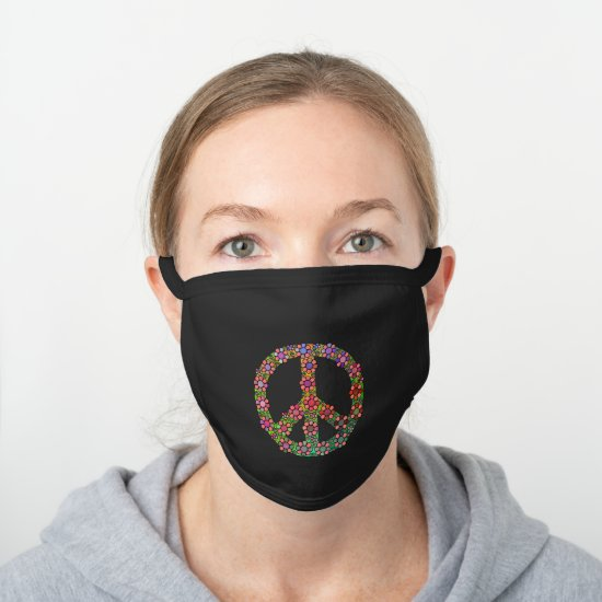 Flower Peace Symbol Pretty Colorful Floral Hippie Black Cotton Face Mask
