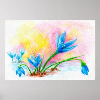 Flower pencil hand-drawn illustration poster