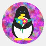 Flower Penguin Classic Round Sticker
