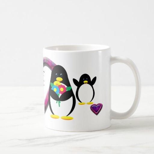 Flower Penguin Classic White Coffee Mug