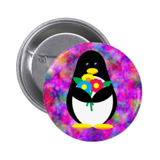 Flower Penguin Pinback Button