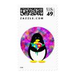 Flower Penguin Postage Stamp