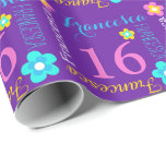 Flower personalized name age 16th birthday wrap wrapping paper