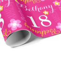 Flower personalized name age 18th birthday wrap wrapping paper