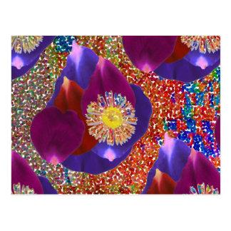 Flower Petal Art n Sparkle Jewel  background Postcard